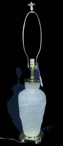 PHOENIX STYLE FROSTED GLASS LAMP WITH PEACOCK MOTIF