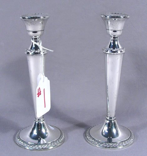 PAIR OLD WEIGHTED CANDLE STICKS
