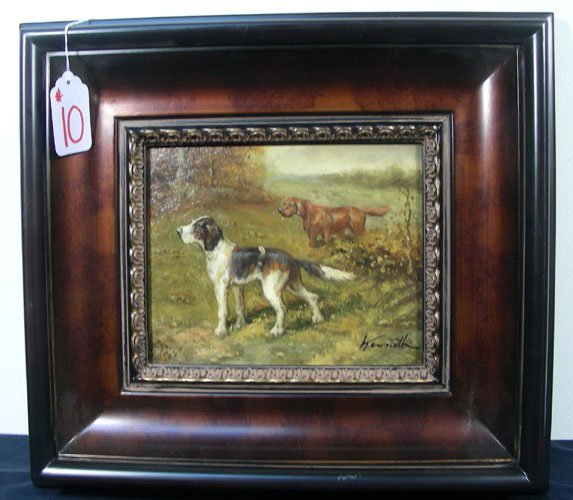 OIL ON CANVAS:  HUNTING DOGS