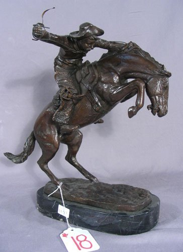 """SMALL SCALE BRONZE SCULPTURE """"BRONCO BUSTER"""""""