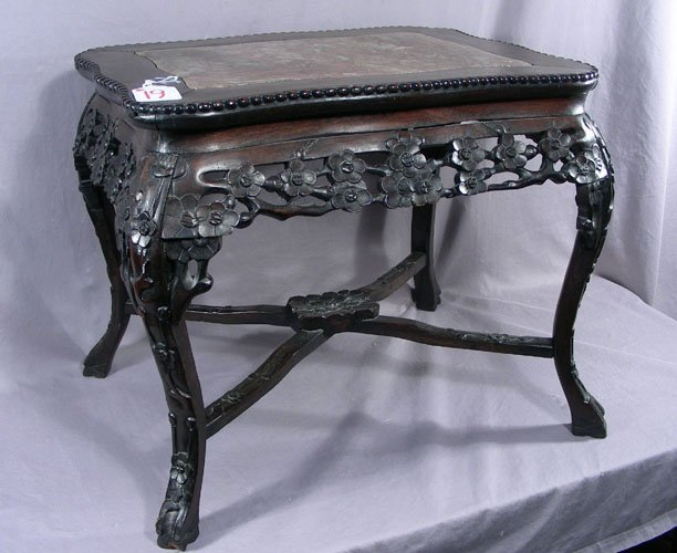 ANTIQUE HAND CARVED CHINESE TABLE WITH MARBLE TOP