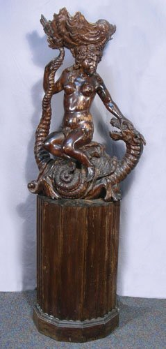 VERY UNUSUAL 19TH CENTURY HAND CARVED ITALIAN WOODEN