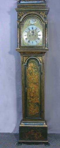 OUTSTANDING GEORGE III GREEN AND GILT JAPANNED LONG