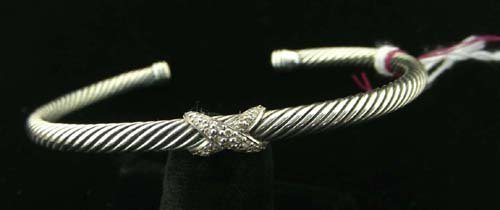 "DAVID YURMAN STERLING SILVER AND DIAMOND ""X"" BRACELET"