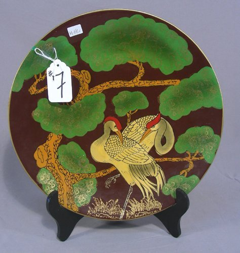 CHINESE PORCELAIN CHARGER ON STAND