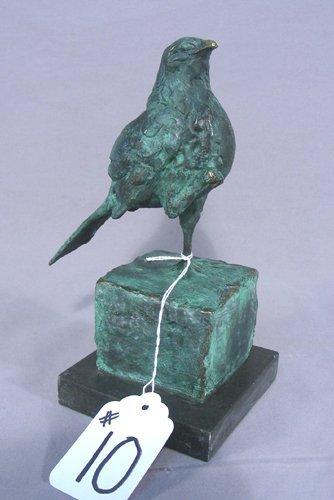 HEAVY BRONZE SCULPTURE OF STANDING BIRD