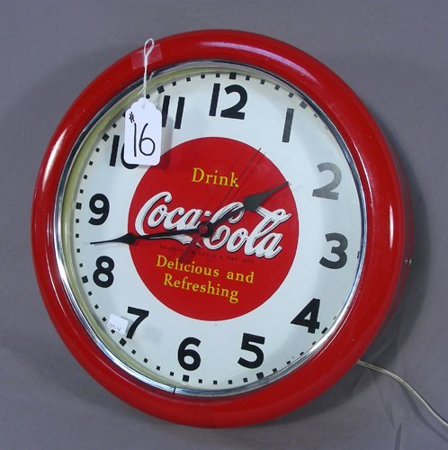 ROUND METAL COCA COLA CLOCK WITH NEON LIGHTING