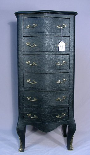 UNUSUAL SIX DRAWER LEATHER CHEST