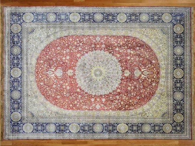 Fine Kashan Pure Silk Area Rug