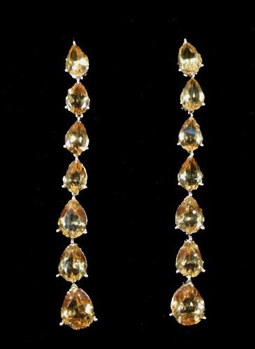 PAIR LADIES 14K YELLOW GOLD AND CITRINE DANGLE EARRING