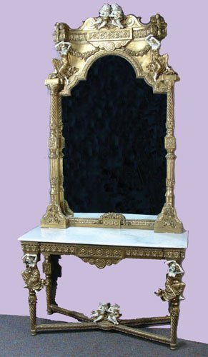 OUTSTANDING FRENCH CARVED GILT FIGURAL TABLE WITH