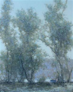 """ANDRE GISSON (1921-2003) ORIGINAL OIL ON CANVAS """"DAY AT"""