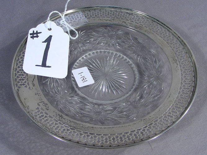 OLD STERLING SILVER AND CRYSTAL DISH