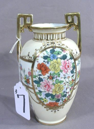 OLD HAND PAINTED NIPPON TWO HANDLED VASE