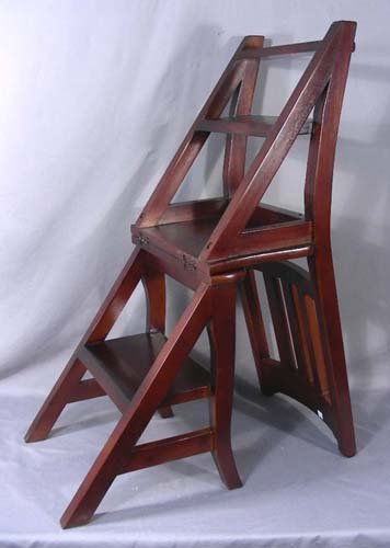 HAND CARVED MAHOGANY CHAIR/LIBRARY LADDER