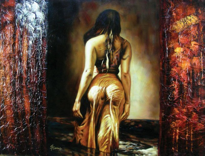 OIL ON CANVAS:  SENSUOUS WOMAN