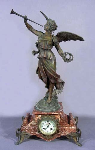 OUTSTANDING 19TH CENTURY FRENCH SPELTER AND MARBLE