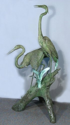 LARGE OLD BRONZE SCULPTURE/FOUNTAIN OF TWO CRANES