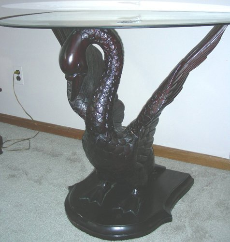 BEAUTIFUL HAND CARVED WOODEN SWAN TABLE WITH GLASS TOP - 2