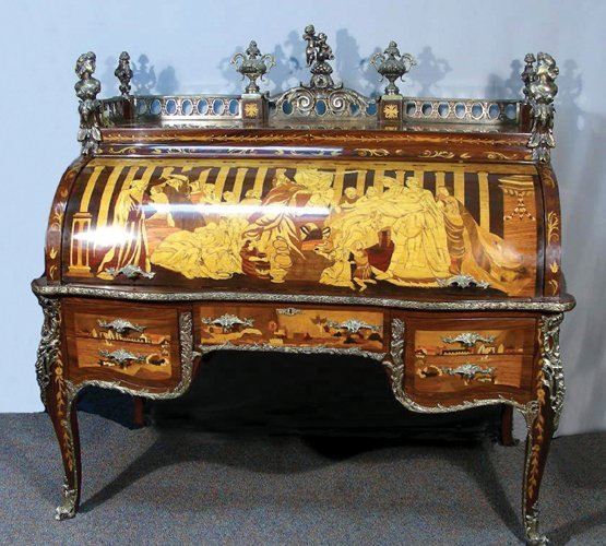 VERY FINE ITALIAN OVERSIZED INLAID ROLL FRONT DESK
