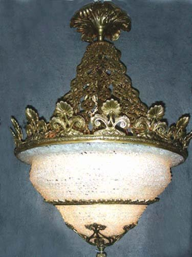 OUTSTANDING FRENCH BRONZE AND ART GLASS CHANDELIER