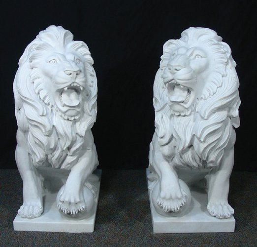 PAIR LARGE HEAVY ITALIAN MARBLE SEATED LIONS