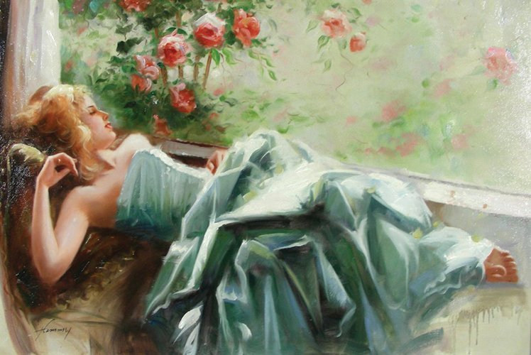 """OIL ON CANVAS """"LOUNGING WOMAN"""""""