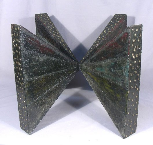 PAUL EVANS (1931-1987) STEEL TABLE WITH GLASS TOP