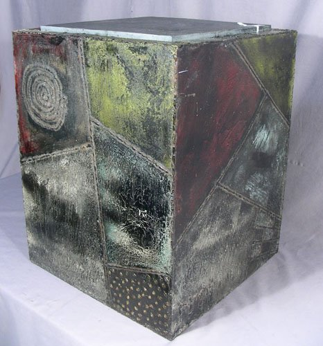 PAUL EVANS (1931-1987) STEEL TABLE WITH SLATE TOP