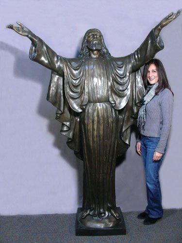 MONUMENTAL BRONZE SCULPTURE OF STANDING JESUS