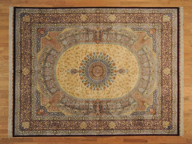 GUMBAD DESIGN HAND KNOTTED PURE SILK AREA RUG