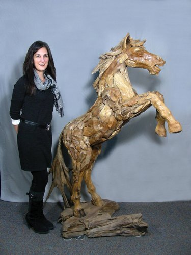 CUSTOM MADE TEAK REARING HORSE