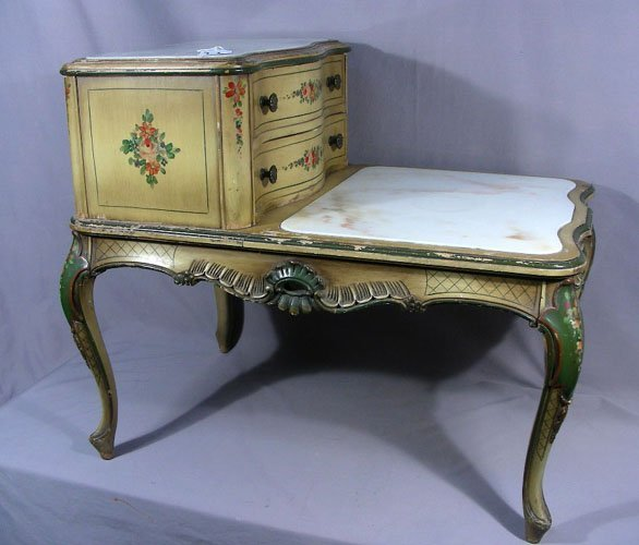 ANTIQUE ITALIAN HAND PAINTED SIDE TABLE WITH MARBLE TOP