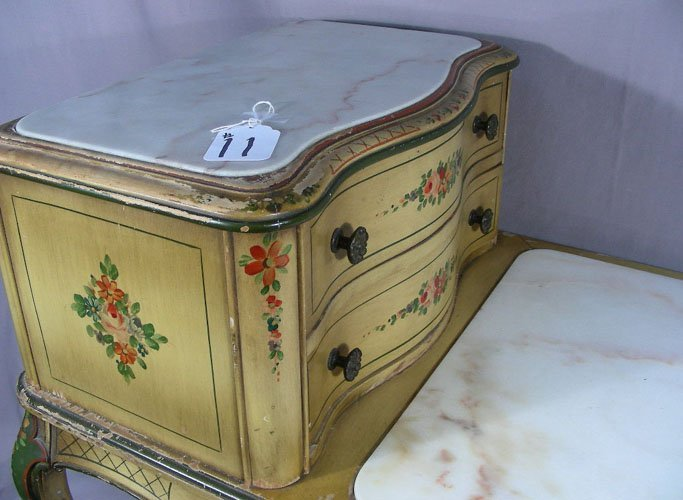 ANTIQUE ITALIAN HAND PAINTED SIDE TABLE WITH MARBLE TOP - 2