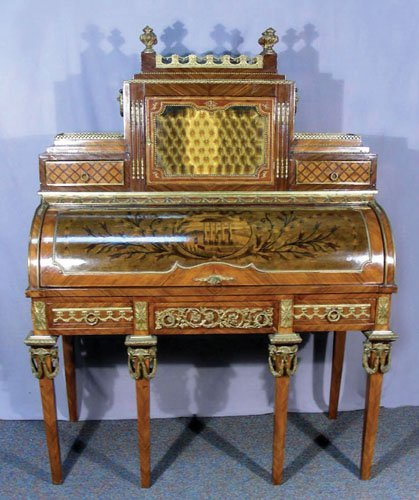 HAND CARVED AND INLAID FRENCH ROLL FRONT DESK