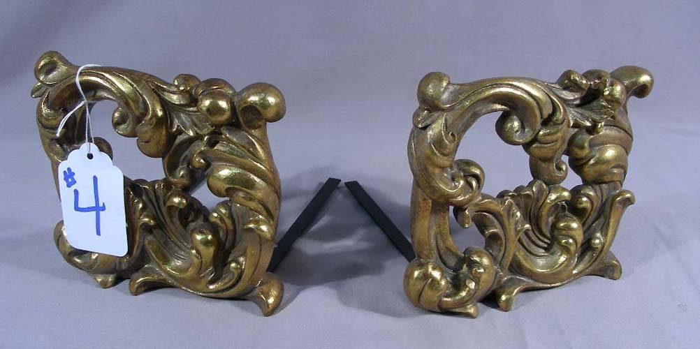 PAIR GILT AND METAL DECORATIVE BOOKENDS