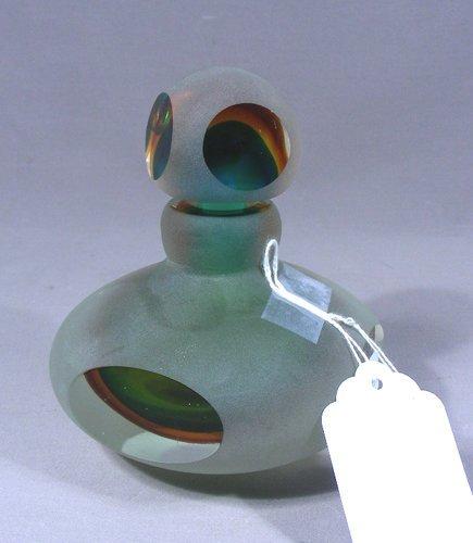 HAND BLOWN ART GLASS PERFUME BOTTLE