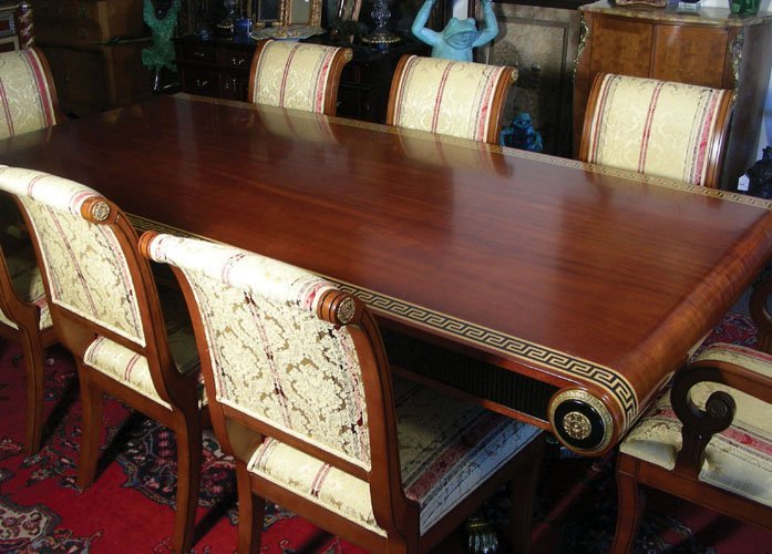 OUTSTANDING ITALIAN HAND CARVED AND INLAID DINING ROOM