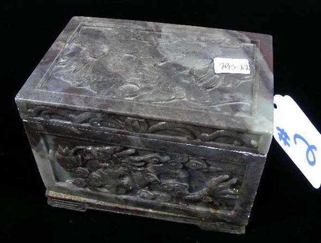 CHINESE HAND CARVED SOAPSTONE BOX