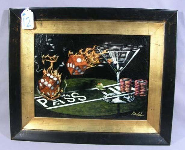 """GODDARD STYLE ORIGINAL OIL ON CANVAS """"FLAMING DICE"""""""
