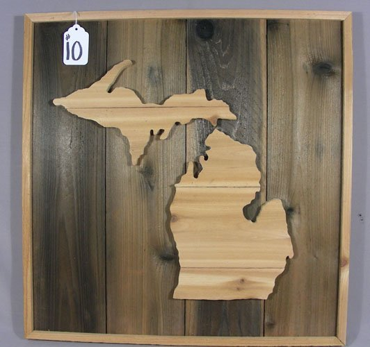 HAND MADE WALL HANGING:  WOODEN CARVING OF MICHIGAN