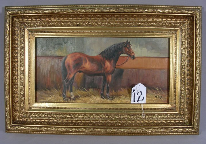 OIL ON BOARD:  STANDING HORSE