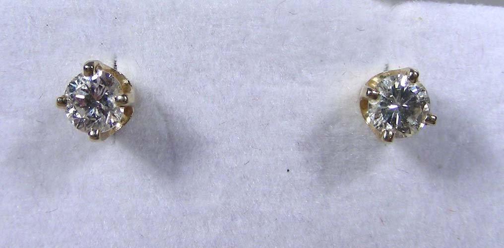 PAIR LADIES 14K YELLOW GOLD AND DIAMOND STUD EARRINGS