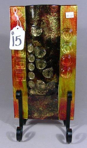 ITALIAN ART GLASS VASE ON METAL STAND