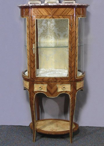FABULOUS FRENCH OVAL CURIO CABINET WITH MARBLE TOP