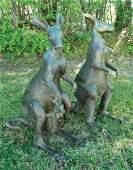 PAIR LIFE SIZE VINTAGE BRONZE SCULPTURES OF KANGAROOS