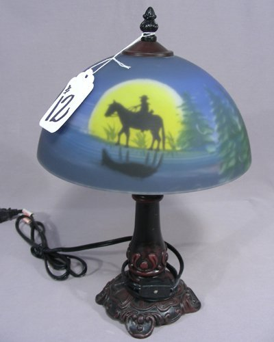 REVERSE PAINTED SMALL SCALE TABLE LAMP