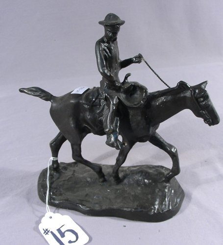BRONZE SCULPTURE OF WILL ROGERS AFTER C. M. RUSSELL