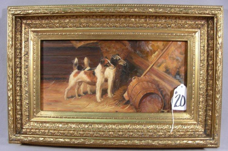 ORIGINAL OIL ON BOARD:  DOGS