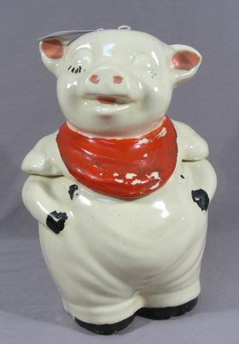 """VINTAGE ANTIQUE PORCELAIN """"PIG"""" COOKIE JAR"""